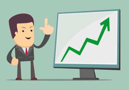 Homme d'affaires présentation graphique la croissance des entreprises Banque d'images - 39577012
