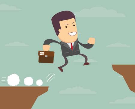 dangerous work: businessman jump through the gap