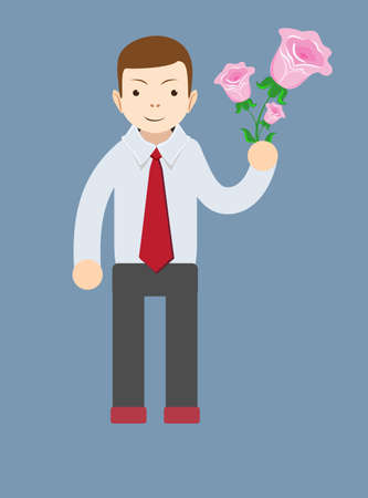 rose flowers: Businessman hand holding bouquet of pink rose flowers.