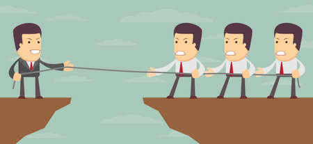bluff: Abstract Businessmen Tug of war on a cliff. Vector illustration