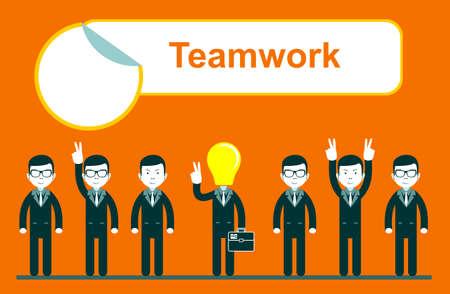 flat design for team work concept Vettoriali