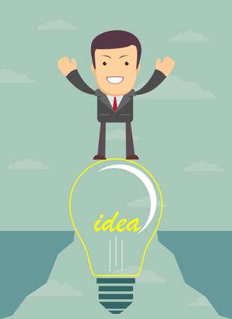 abyss: Businessman on a bulb cross an abyss. Vector