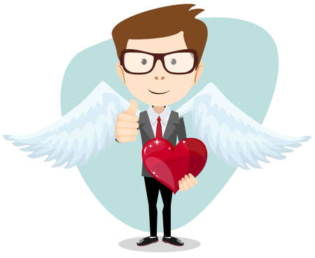 Businessman and Red Heart, Vector Illustration Vector