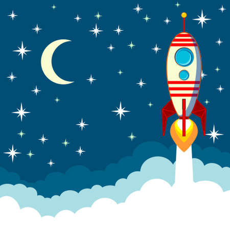 in night: Rocket on the moon background, vector illustration