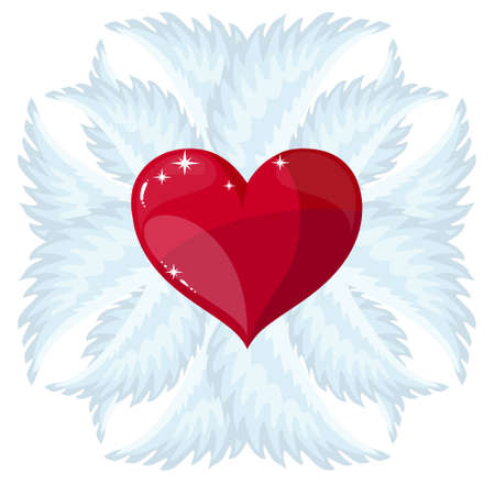 Cross, heart and wings Vector