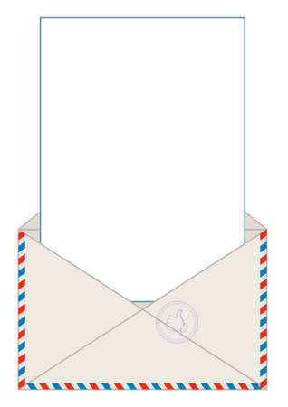 airmail stamp: Open blank airmail envelope with rubber stamp