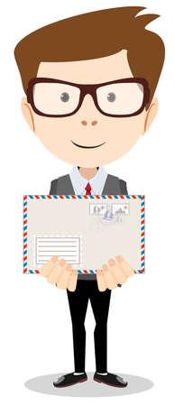 telegrama: Cartero moderno entregó una carta a usted, ilustración vectorial Vectores