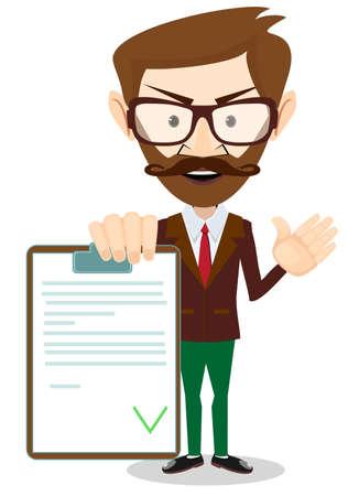 validez: Hombre que sostiene un documento en el que todas Aprobado. vector Vectores