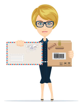 mailer: Beautiful girl postman, vector illustration