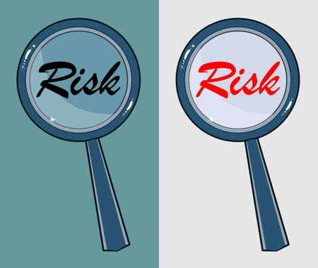 Magnifying glass with word risk on white background Vector
