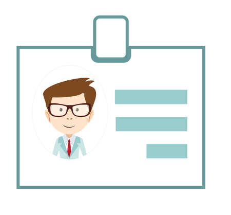 worker: Badge ID icon business id sign badge personal name avatar Illustration