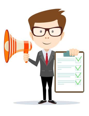 megafono: Empresario sosteniendo el documento aprobado y hablando en un megáfono. Vectores