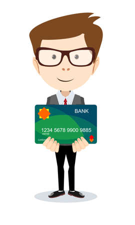 spending: Man holding a bank card - vector illustration