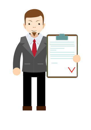 appreciating: Manager holding the document approved, vector illustration Illustration