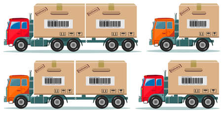 truckload: Long truck with cargo goes to the warehouse, vector illustration