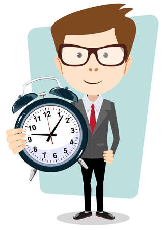 funny people: Businessman holding a clock, vector illustration