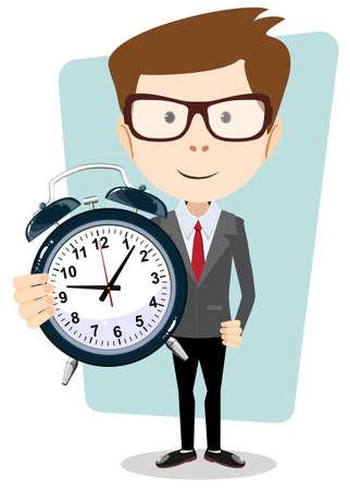 punctual: El hombre de negocios que sostiene un reloj, ilustración vectorial Vectores
