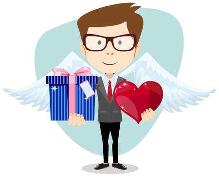 Young man smiling , holding gift and heart. Vector
