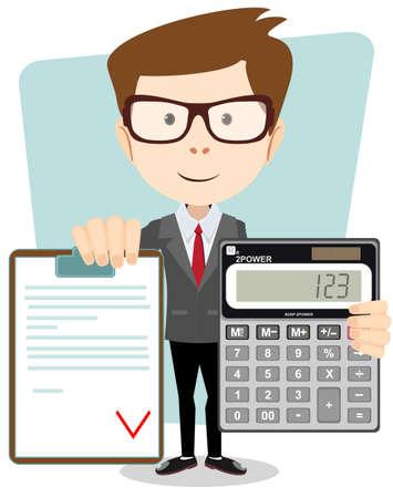 contabilidad financiera cuentas: Contador con una calculadora, ilustración vectorial Vectores