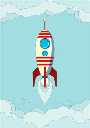astrophysics: Space rocket flying in sky