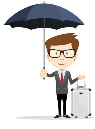 65 70 years: Senior businessman with briefcase and umbrella
