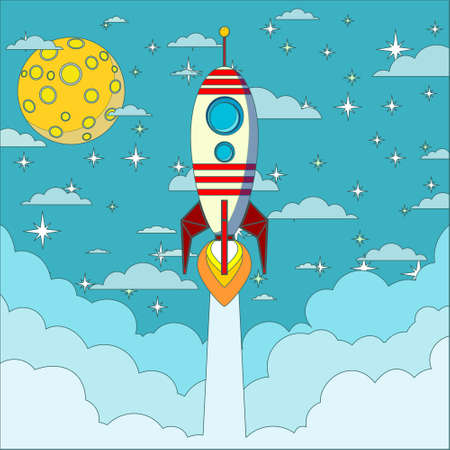 delineation: Rocket on the moon background, vector illustration