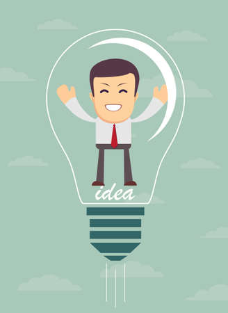 cartoon bear: Businessman create idea. vector illustration Illustration