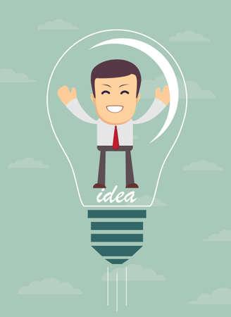 Businessman create idea. vector illustration Vettoriali