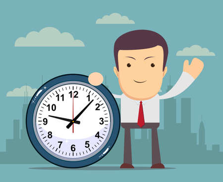 Businessman holding a clock, vector illustration Vector