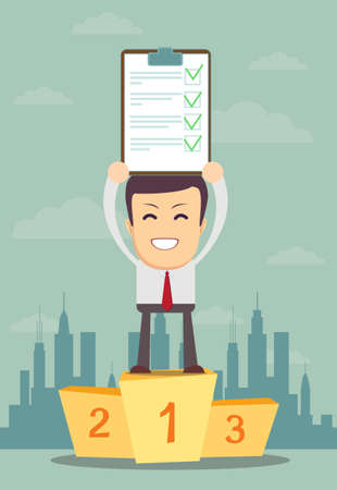 Businessman holding up winning Document in Which All Approved Stock Illustratie