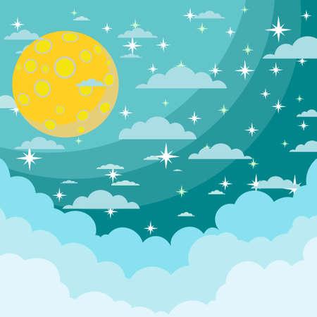 moonrise: Moon on the night sky Illustration