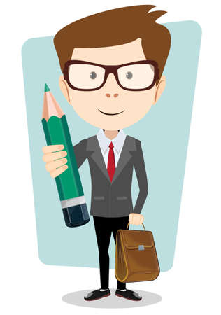 back view student: Teacher with a pencil to correct and study, vector illustration