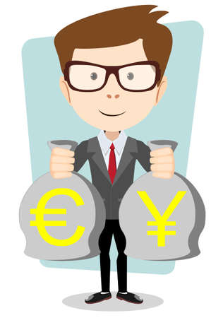 bribery: of a happy young cartoon businessman with bag full money euro. Vector Illustration