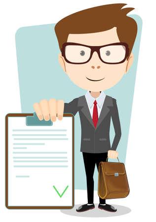 validez: Hombre de negocios con el documento aprobado