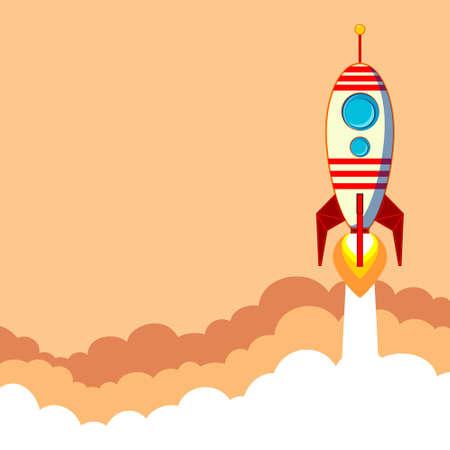 stabilizer: Flat rocket icon. Startup concept.