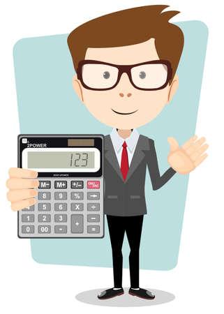 Accountant met een calculator, Vector Illustratie