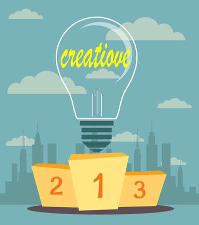 rewarded: Ideas creativas orgullosamente de pie en el podio ganador. Estilo Flat Vectores
