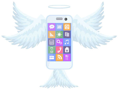middle air: Smart mobile phone flying with wings Illustration