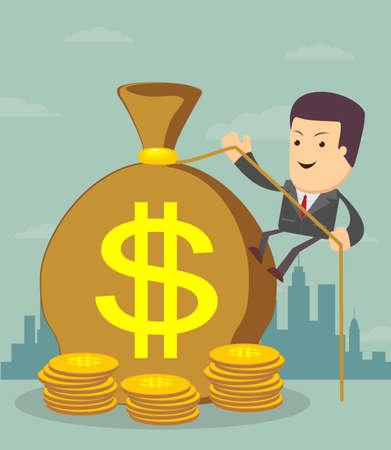 Man and money bag. Money making. Bank deposit.  Financials.