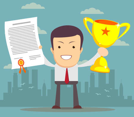 rewarded: Man proudly standing holding up winning trophy and showing an award certificate. Flat style Illustration