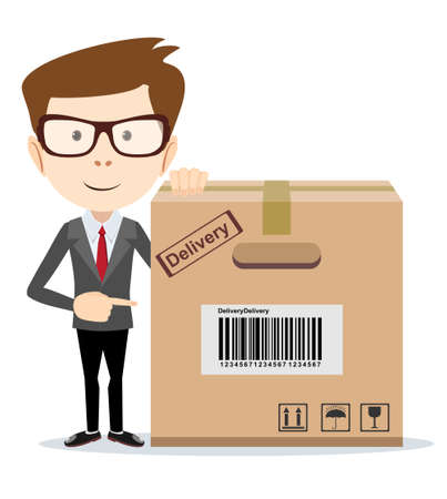 shipment: Delivery man is pointing to a box. Stock Vector illustration. Illustration