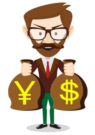 bestechung: Gesch�ftsmann mit einer Tasche voller Geld. Vektorgrafik-