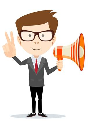 Handsome businessman shouting in loudspeaker and shows victory sign over white background. Stock Vector illustration.