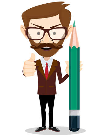 college student: Man with a pencil, it shows a sign that all is well. Stock vector illustration