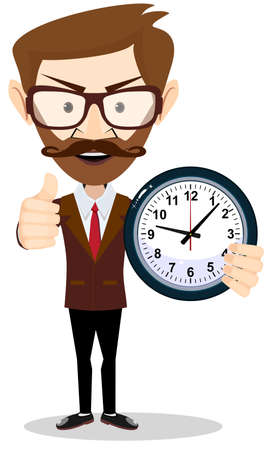 Young businessman holding a clock in office and shows a sign that all is well Vettoriali