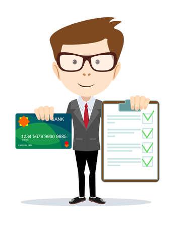 validez: Hombre alegre celebración de la tarjeta de crédito y un contrato. . Ilustración vectorial stock.