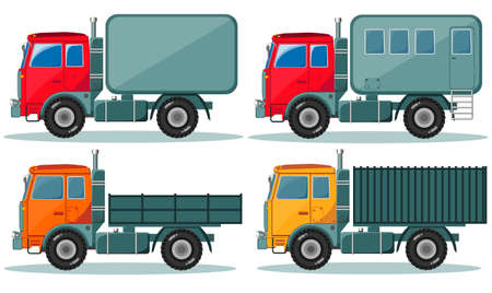 hauler: Trucks icons set. Vector of vehicles.Trucks with different types of bodies