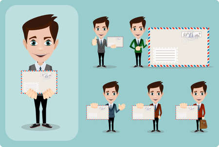 adviser: Handsome businessman in formal suit holding an envelope with a letter. Cartoon character - manager. Set. Stock vector illustration style flat.