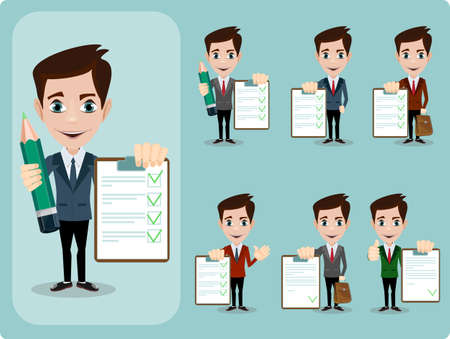 illustration and cool: Vector illustration of a Set colored cartoon character Friendly businessman leaning against contract blank, agreement giving the thumbs up. Stock Vector illustration Set Illustration