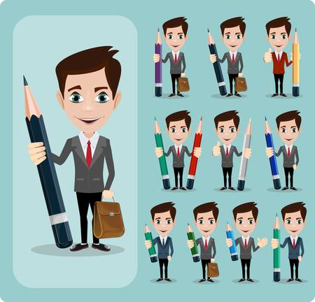 literary man: Set of businessman characters poses , office worker with pencil Set , eps10 vector format. Stock Vector illustration Set
